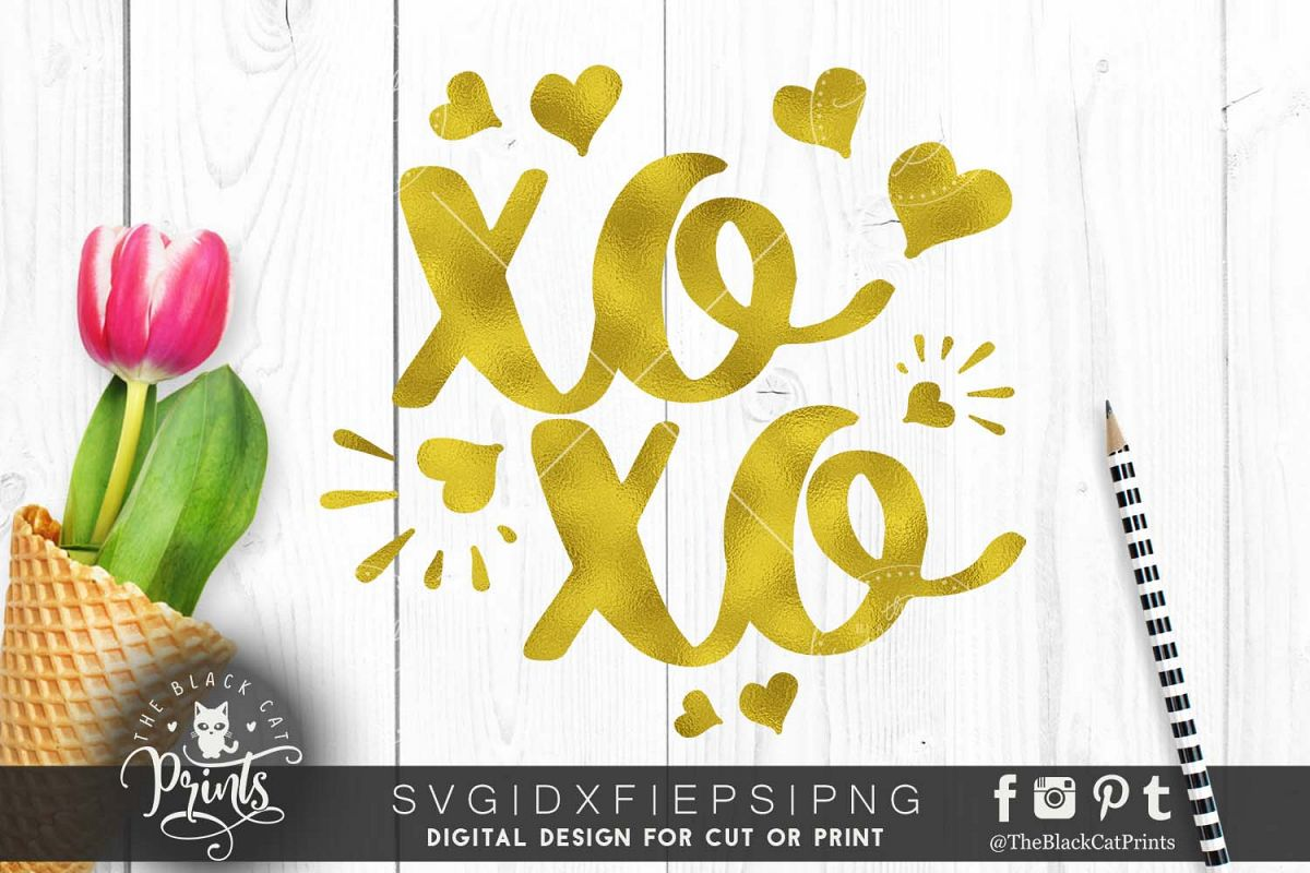 XOXO - Hugs and kisses SVG PNG EPS DXF example image 1