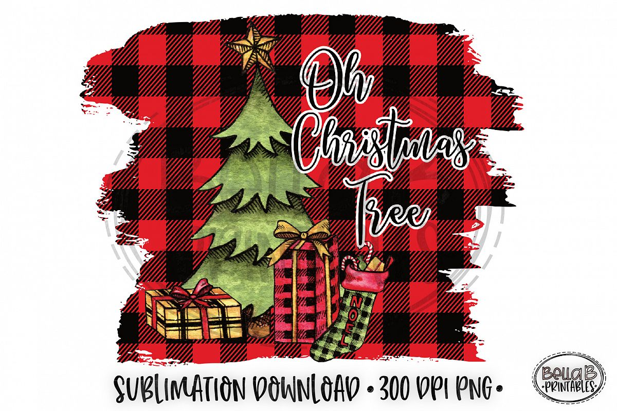 Christmas Sublimation Design, Oh Christmas Tree Sublimation example image 1