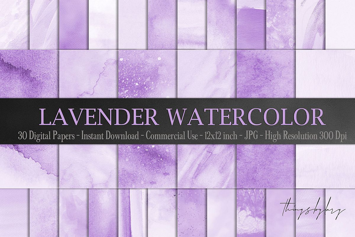 30 Ombre Pastel Lavender Watercolor Painted Digital Papers example image 1