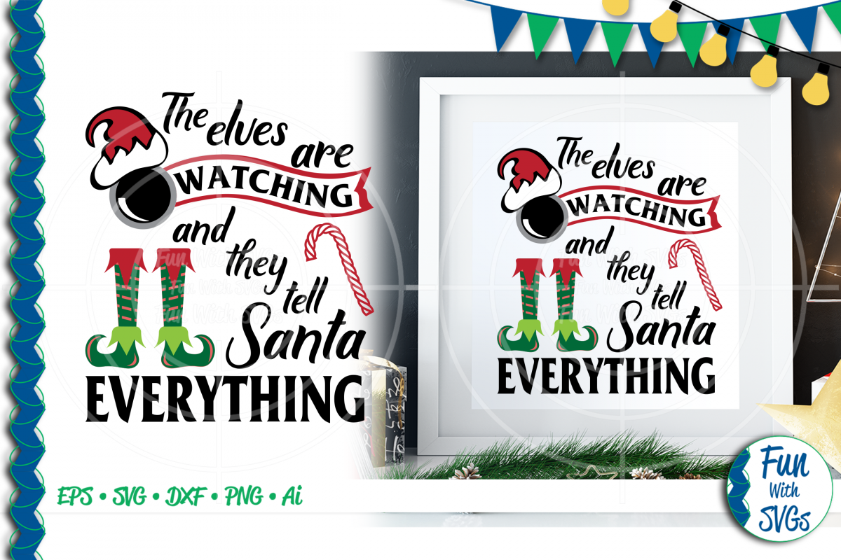 SVG The Elves Are Watching Vector, Cut File, Clip Art FWS391 example image 1