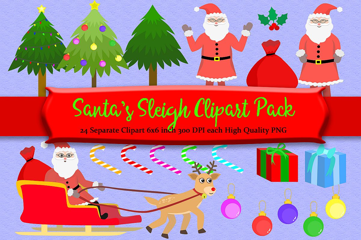 Santa Sleigh Clipart Pack example image 1