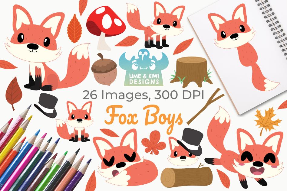 Fox Boys Clipart, Instant Download Vector Art example image 1