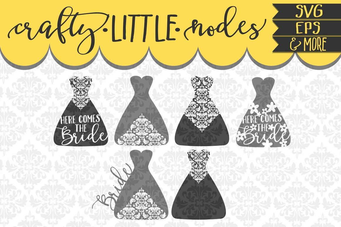 Bridal Wedding Dress Marriage Set SVG DXF Ai Eps PNG
