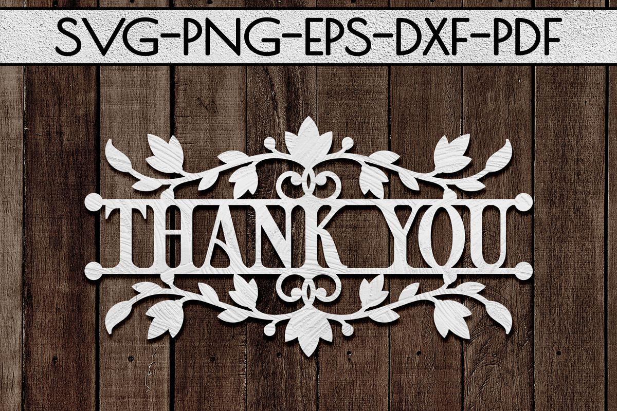 Thank You 3 Papercut Template, Appreciation Decor SVG, PDF example image 1