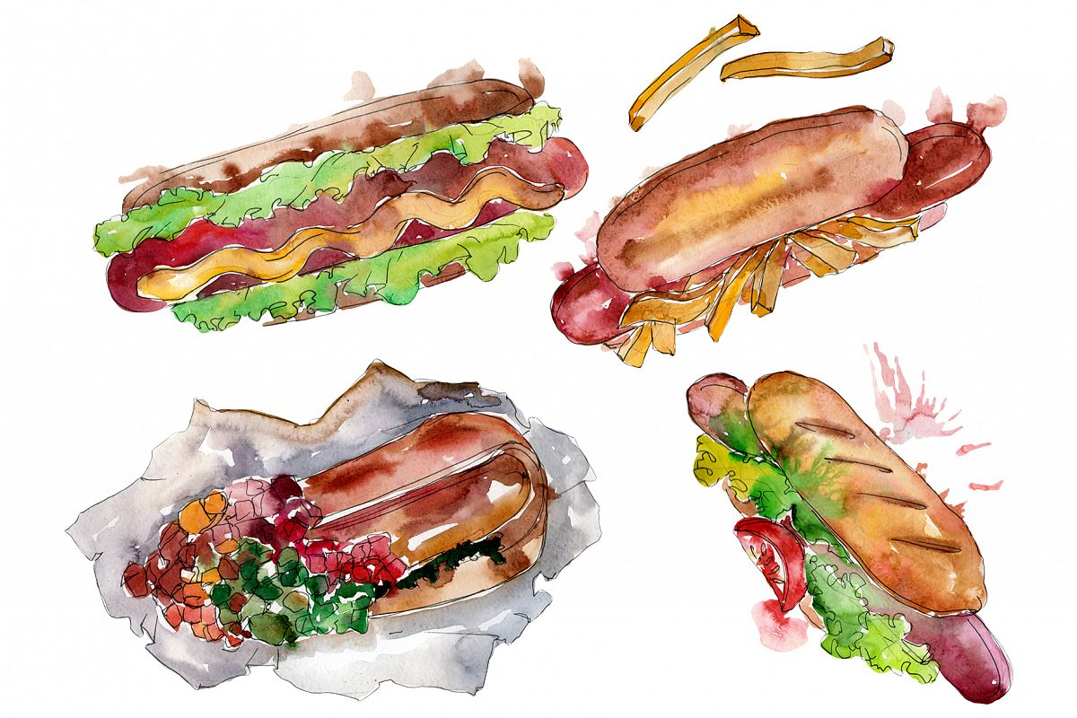 Hot dog in Ukrainian watercolor png example image 1