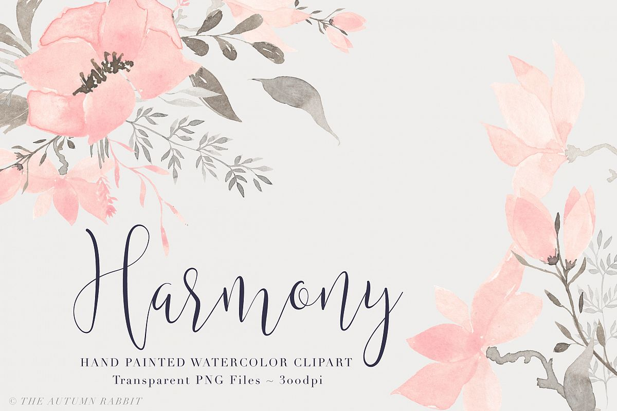 Watercolor Floral Clipart - Harmony example image 1