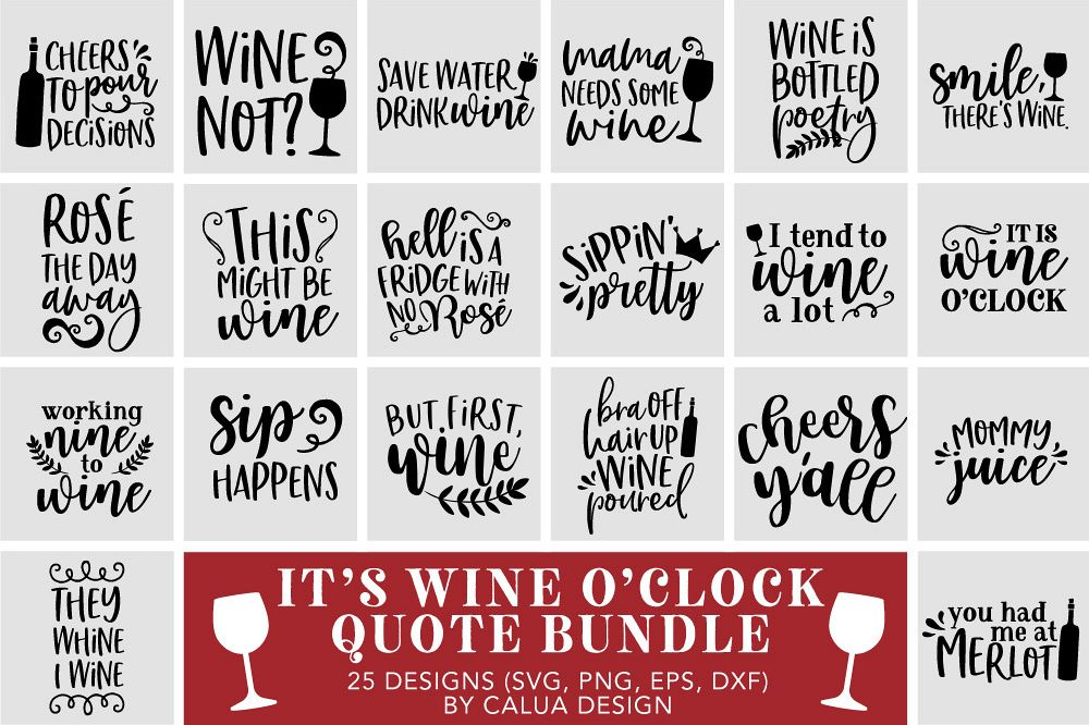 Wine Lover's Quote SVG Cut File Bundle example image 1