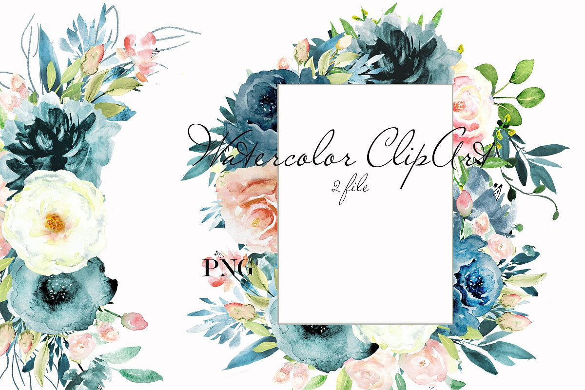 Navy blue & Pink floral watercolor clipart example image 1