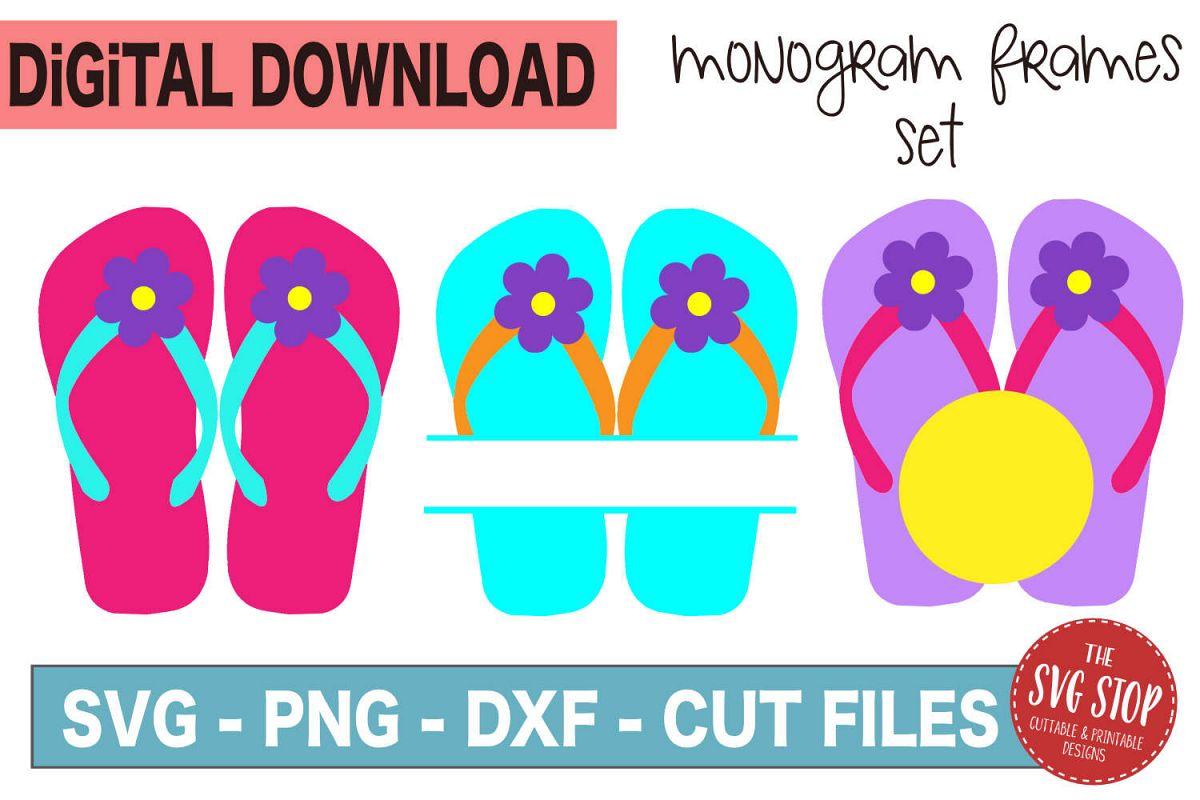 Flip Flop Monogram Frames - SVG, PNG, DXF example image 1