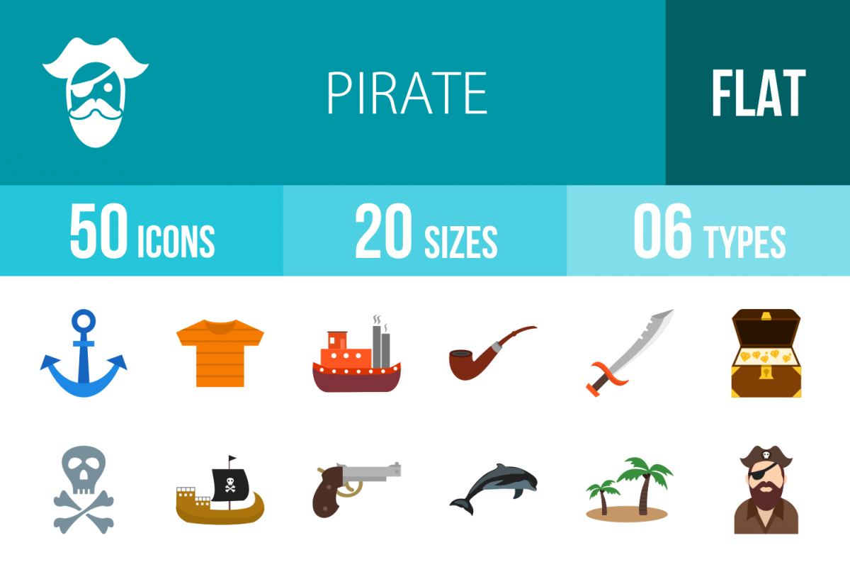 50 Pirate Flat Multicolor Icons example image 1