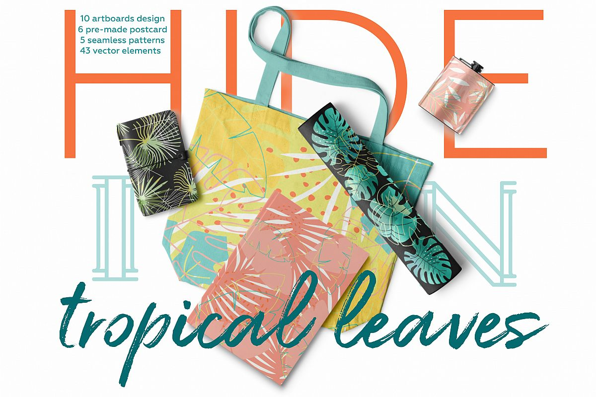 Hide in tropical leaves! Summer hand drawn patterns set example image 1