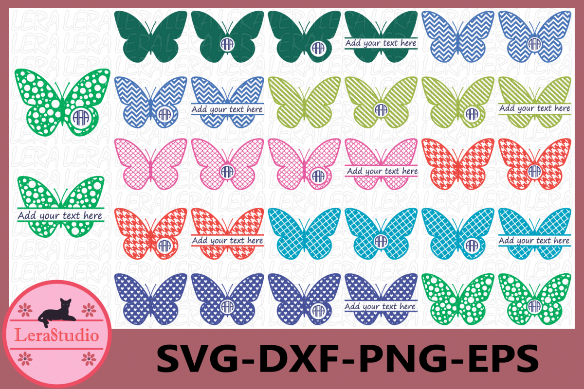 Butterfly SVG, Butterfly Monogram Frames, Butterfly example image 1