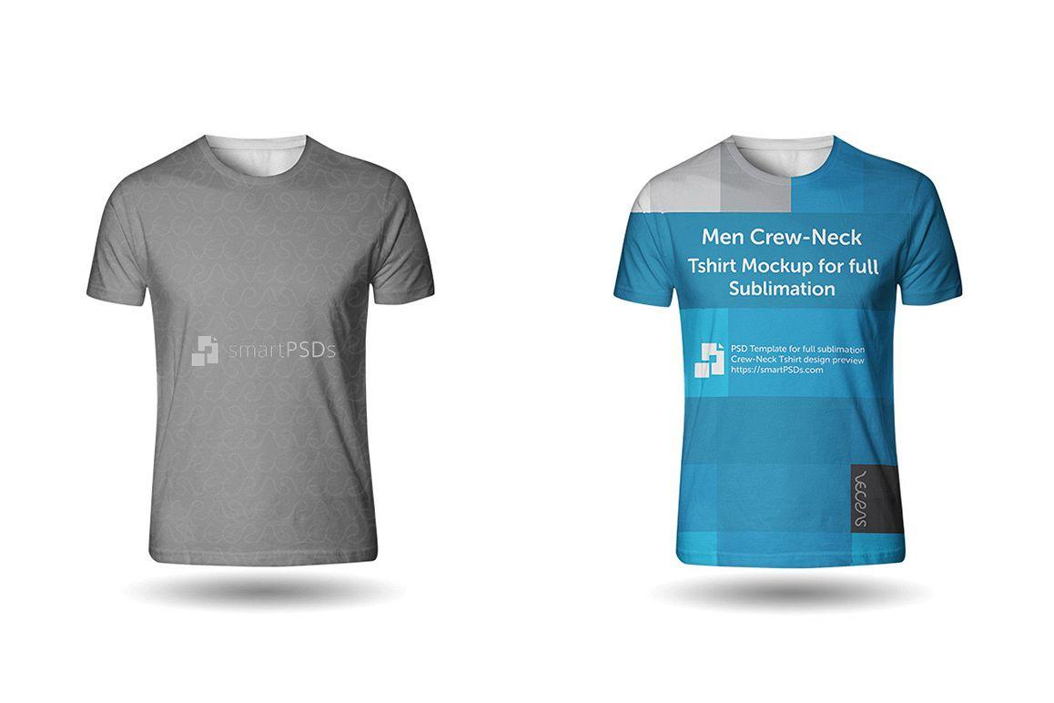 Men Crew-Neck T-Shirt Sublimation Design Mockup - Front View example image 1