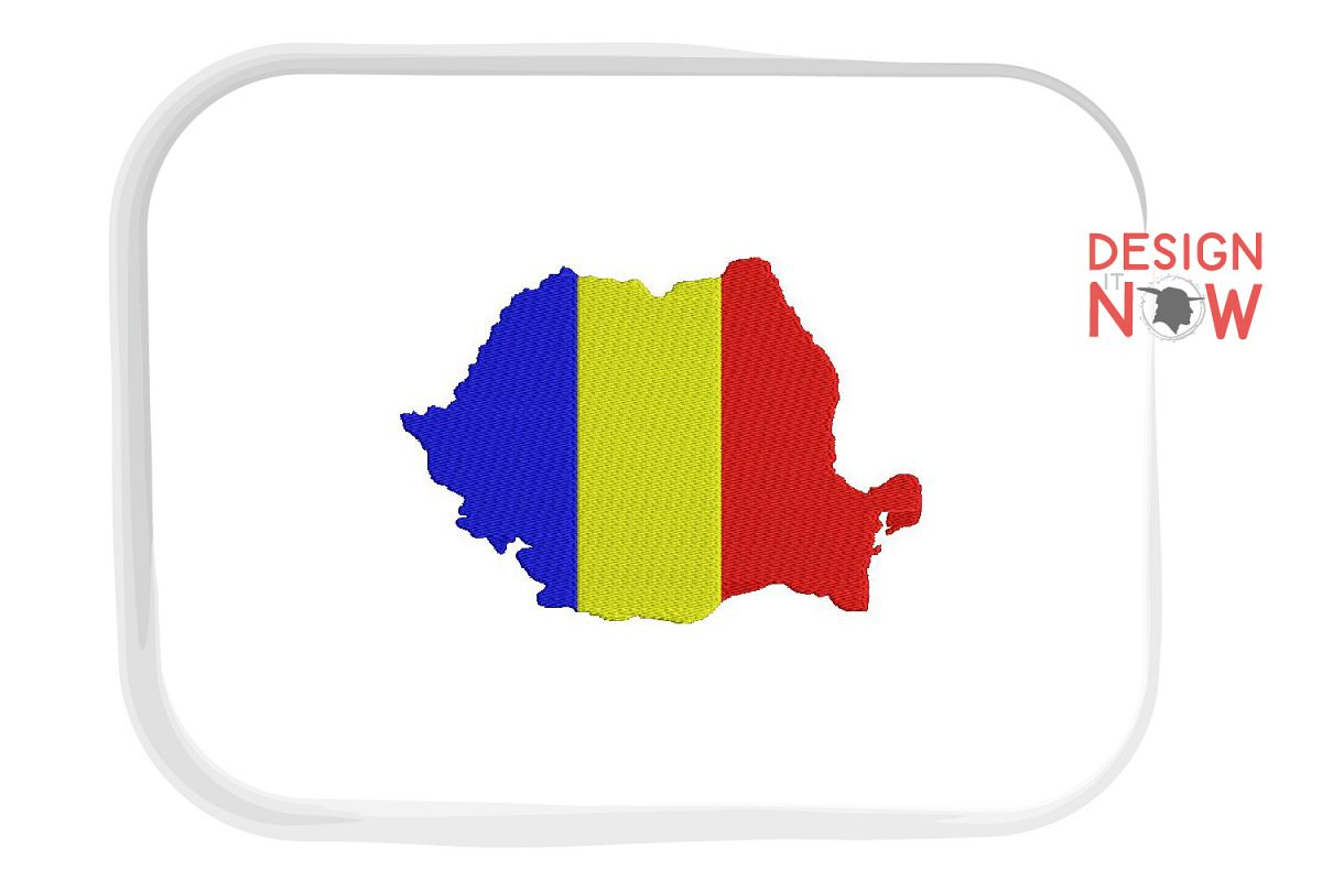 Flag Of Romania Embroidery Design, Map Embroidery example image 1