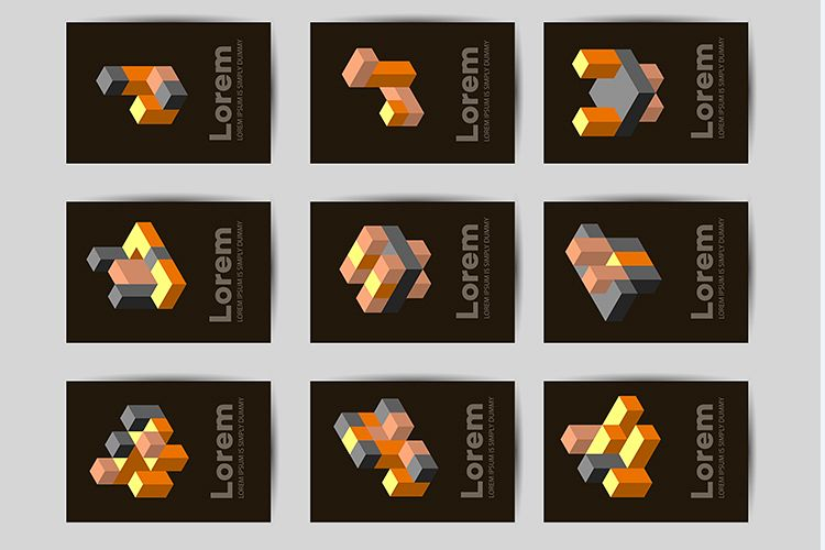 Isometric abstract geometric design example image 1
