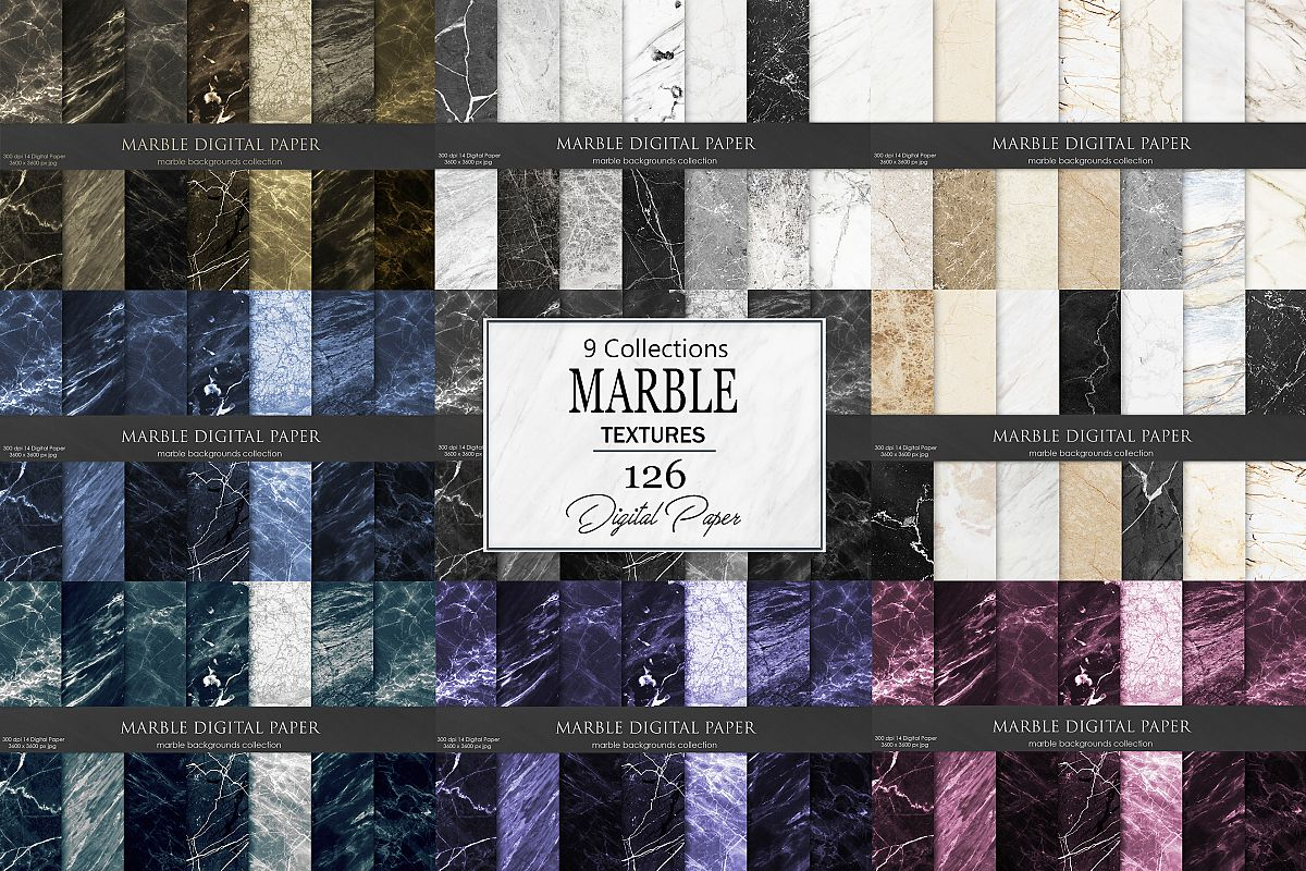 Marble Digital Paper 126 Textures, Backgrounds example image 1