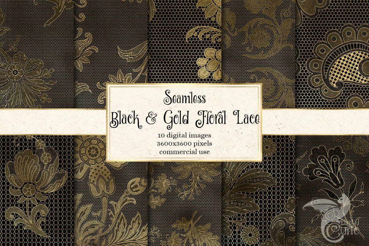 Black and Gold Floral Lace Digital Paper example image 1