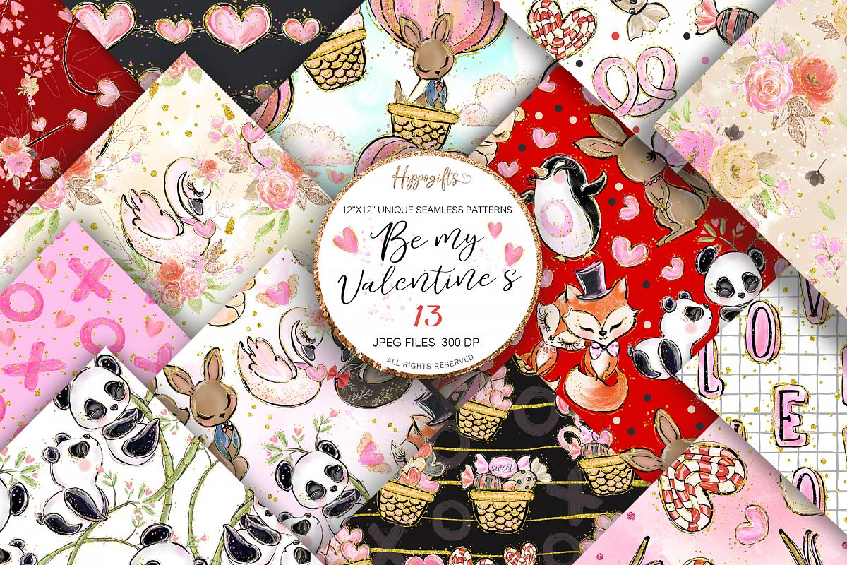 Valentine's patterns,Animal love,Love is in the air example image 1