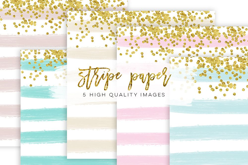 Stripe Confetti Gold Paper Texture, mint Stripe Paper Texture, pink gold Stripe Confetti Paper, Cream paper, printable paper, party supplies example image 1