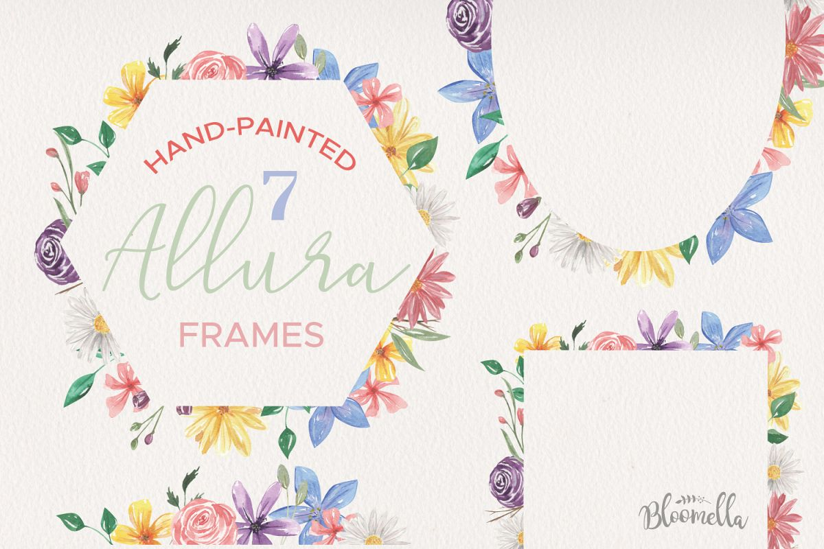 Allura Florals 7 Frames Diasy Flowers Watercolor Blue Pink example image 1