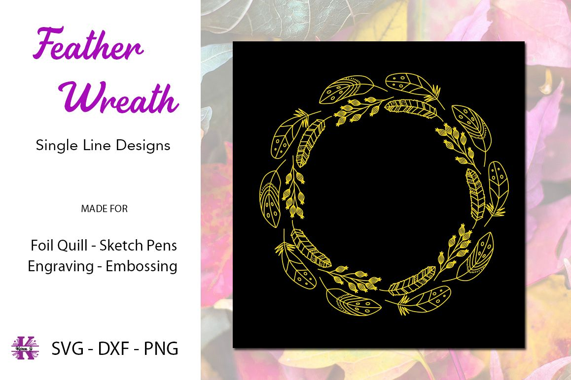 Feather Wreath for Foil Quill|Single Line Design example image 1