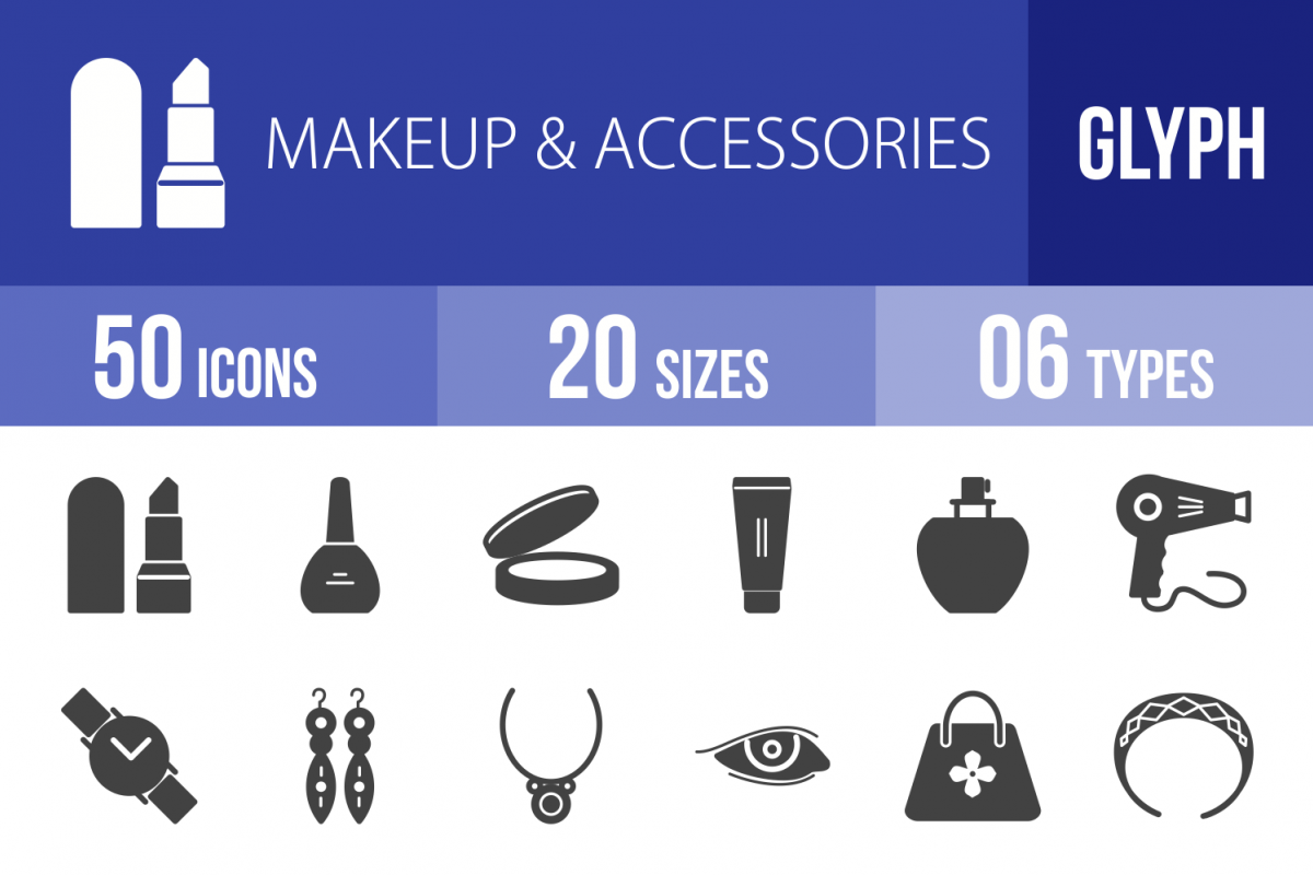 50 Makeup & Accessories Glyph Icons example image 1