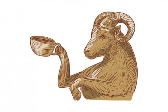 Ram Goat Drinking Coffee Drawing example image 1