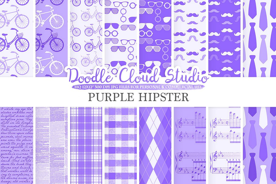Purple Hipster digital paper, Vintage Father's day tie mustaches bike music glasses plaid pattern Instant Download Personal & Commercial Use example image 1