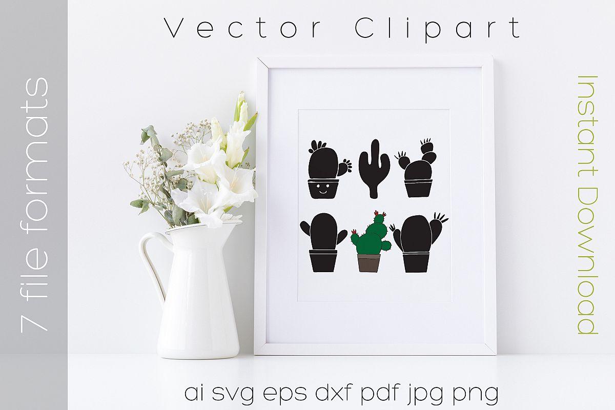 Cactus SVG Bundle Clipart Succulent Drawing Vector Cut Files