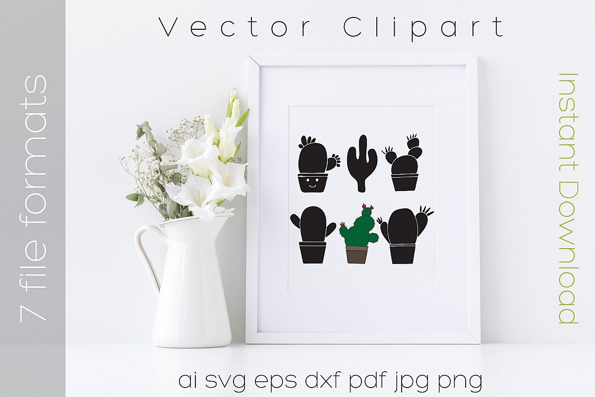 Cactus SVG Bundle Clipart Succulent Drawing Vector Cut Files example image 1