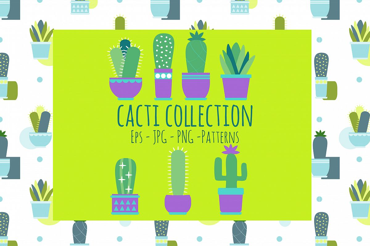 Cacti clipart set + Vector, Scandinavian style example image 1