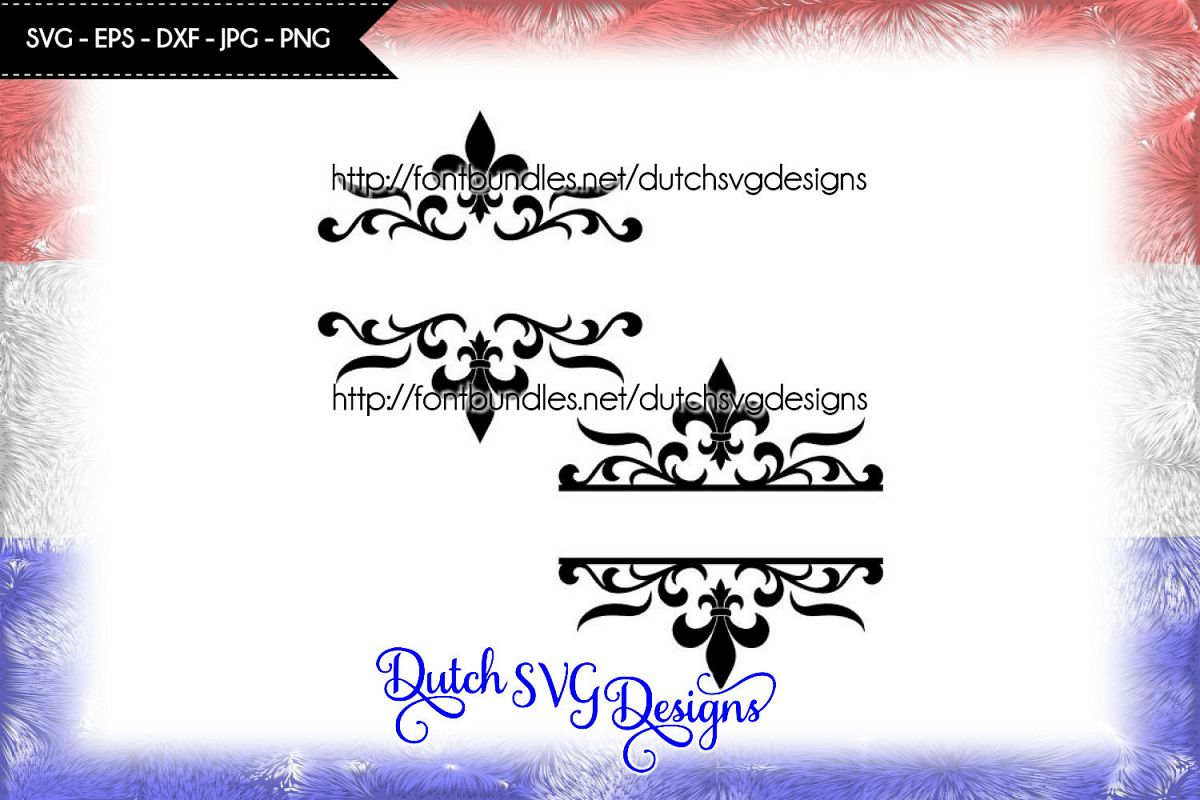 2 Split monogram cutting files with french lily example image 1