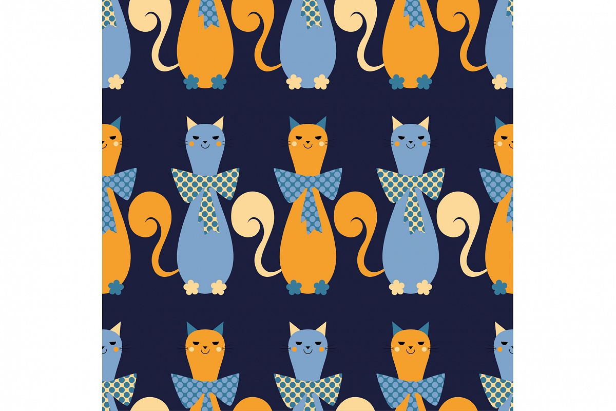 Seamless vector background with decorative cats. example image 1