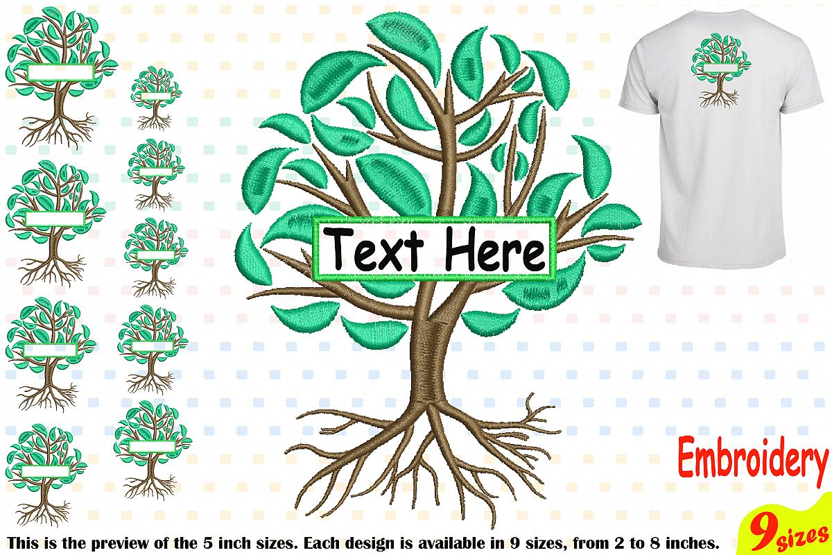 Family Tree Split Embroidery Design Machine Instant Download Commercial Use digital Outline family love Frame Deep Roots Branches 209b example image 1
