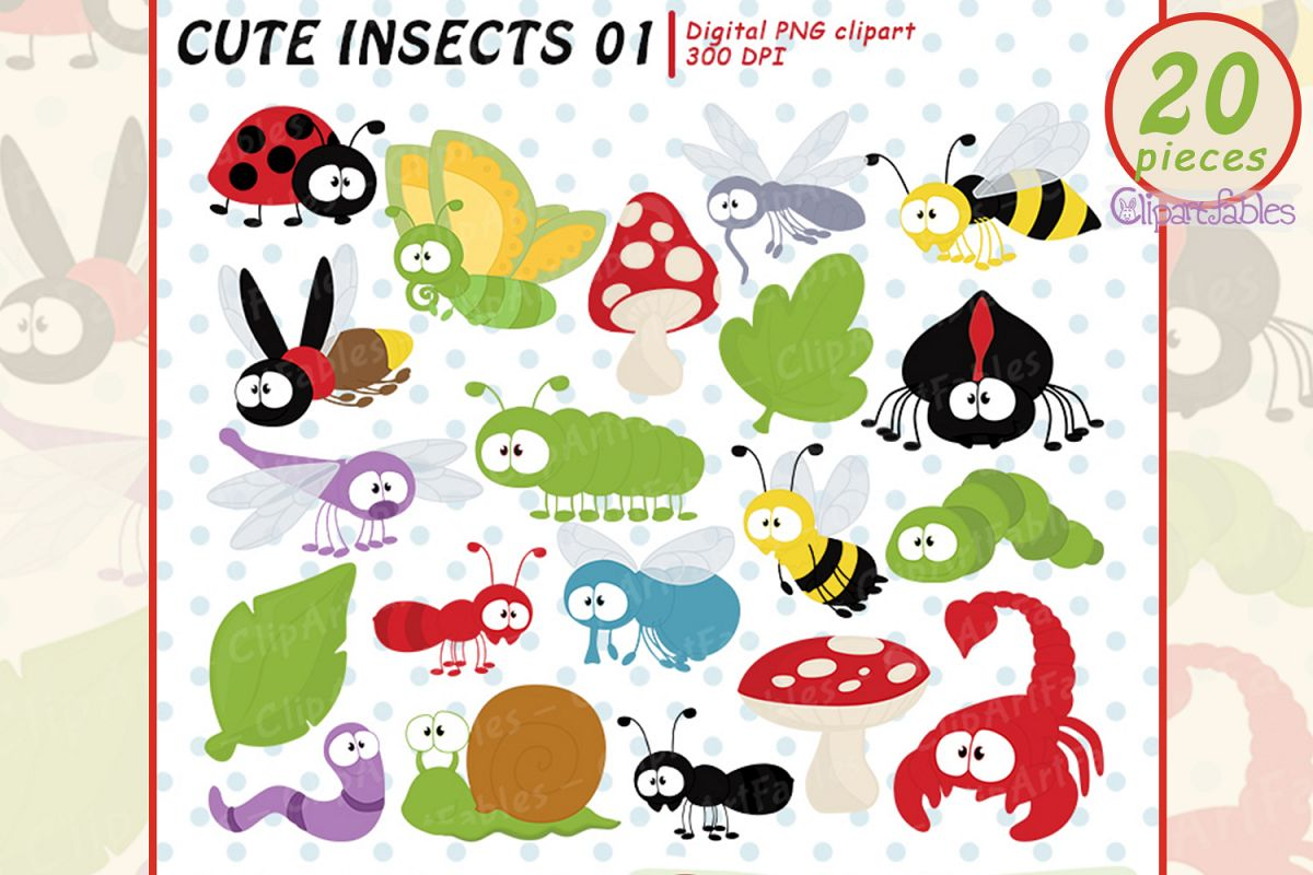 Cute INSECT clipart, bugs clip art, digital art example image 1