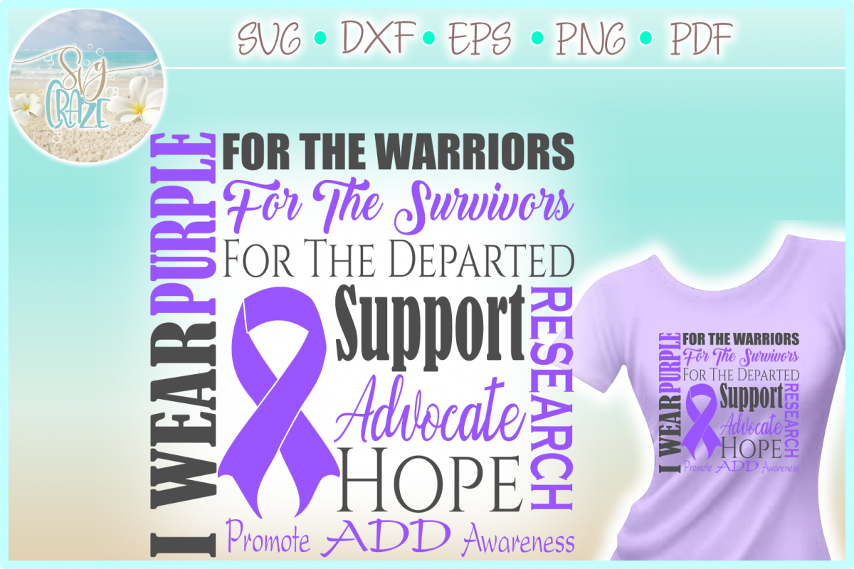 I WEAR PURPLE ADD ADHD Awareness SVG DXF EPS PNG PDF files example image 1