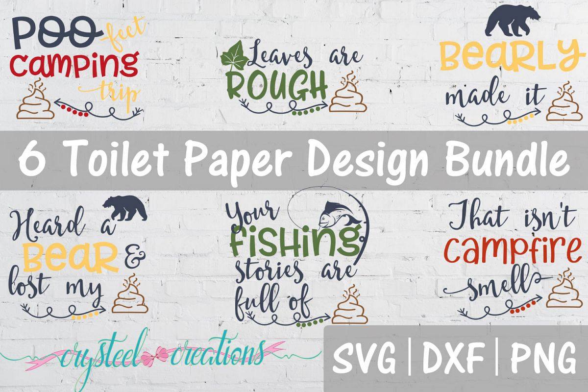 Outdoor/Camping Toilet Paper Bundle SVG, DXF, PNG example image 1