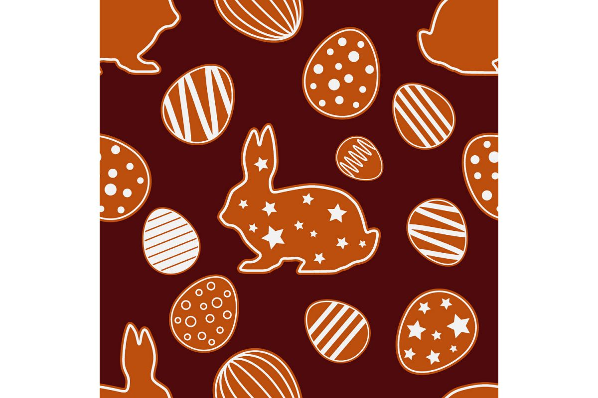 Easter gingerbread ornament. Set of 10 seamless patterns. example image 1