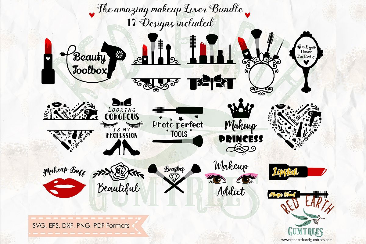 Big bundle makeup glamour beauty monogram and quotes in SVG