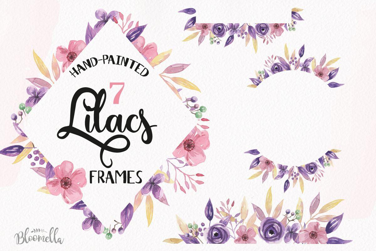 Lilacs Frames Watercolor Clipart Border Flowers Pink Purple Florals