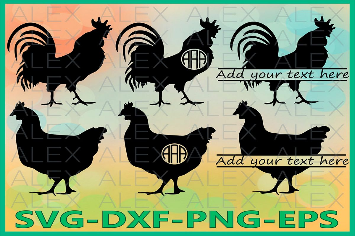 Cock Rooster Svg, Chicken Monogram svg, Cock SVG example image 1