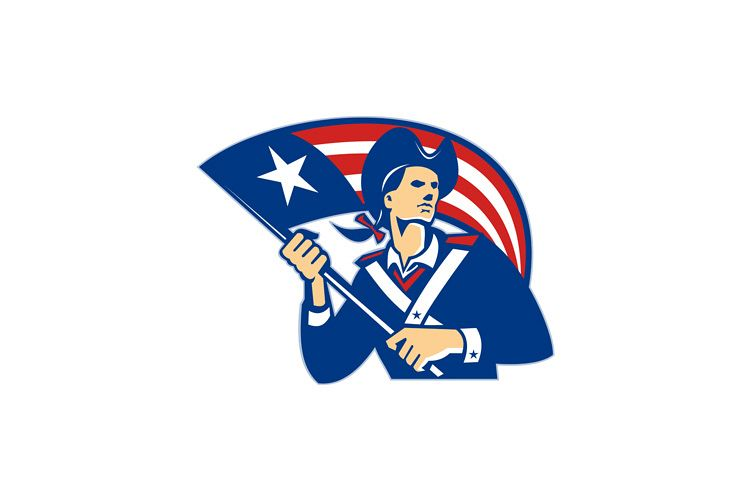 American Patriot Minuteman With Flag Retro example image 1