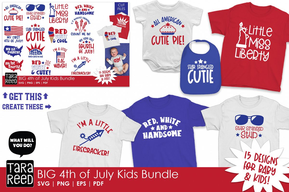 BIG 4th of July Kids Bundle - SVG and Cut Files for Crafters example image 1