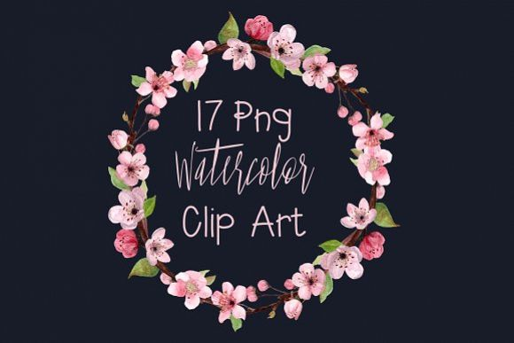 17 Watercolor Cherry Blossom ClipArt example image 1