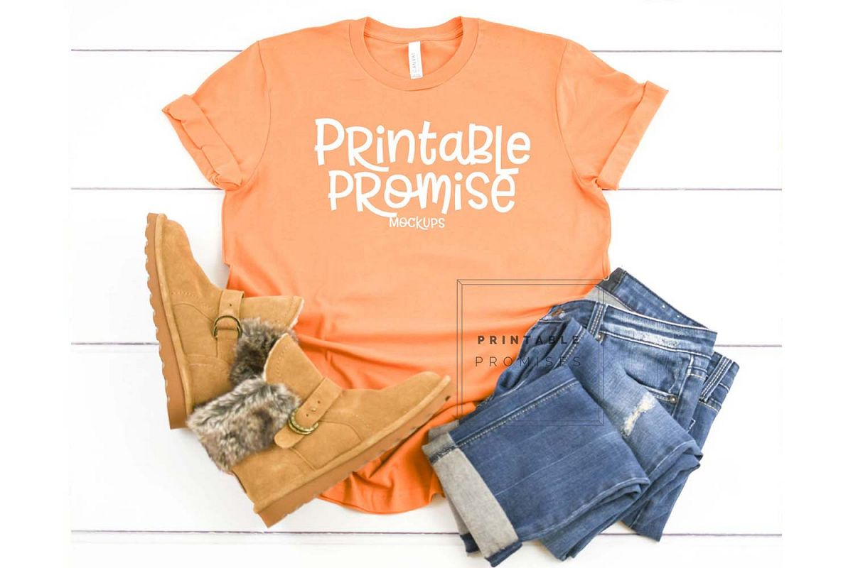 Bella Canvas 3001 Burnt Orange Shirt Mockup Shirt Flatlay example image 1