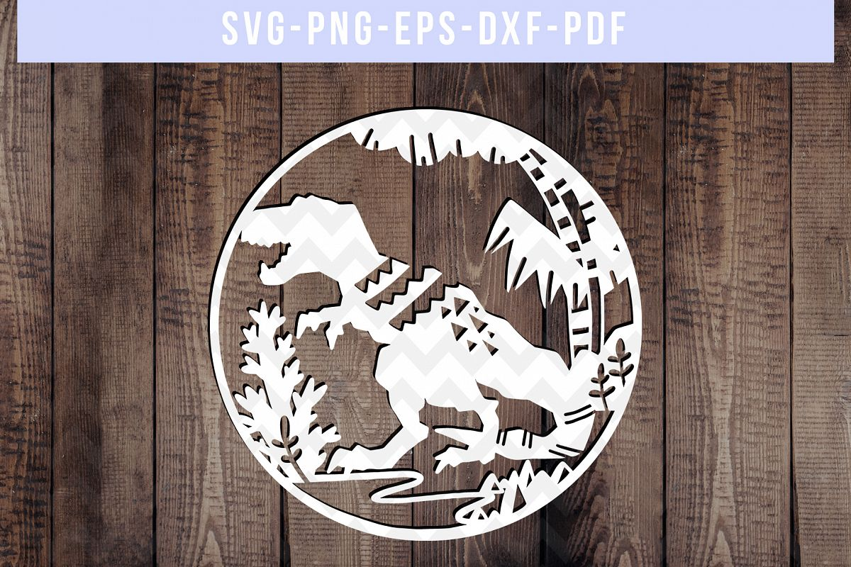 Dinosaur Papercut Template, T-Rex SVG, Baby Cut File DXF PDF example image 1
