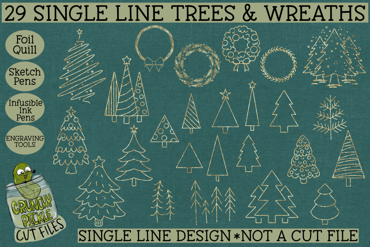 29 Foil Quill Christmas Trees & Wreaths Set / Single Line example image 1