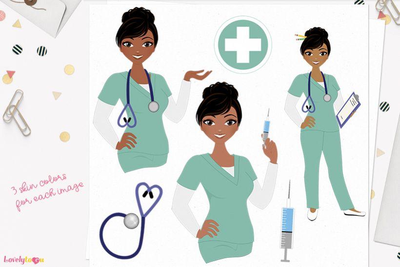 Woman nurse character clip art L066 Jewel example image 1