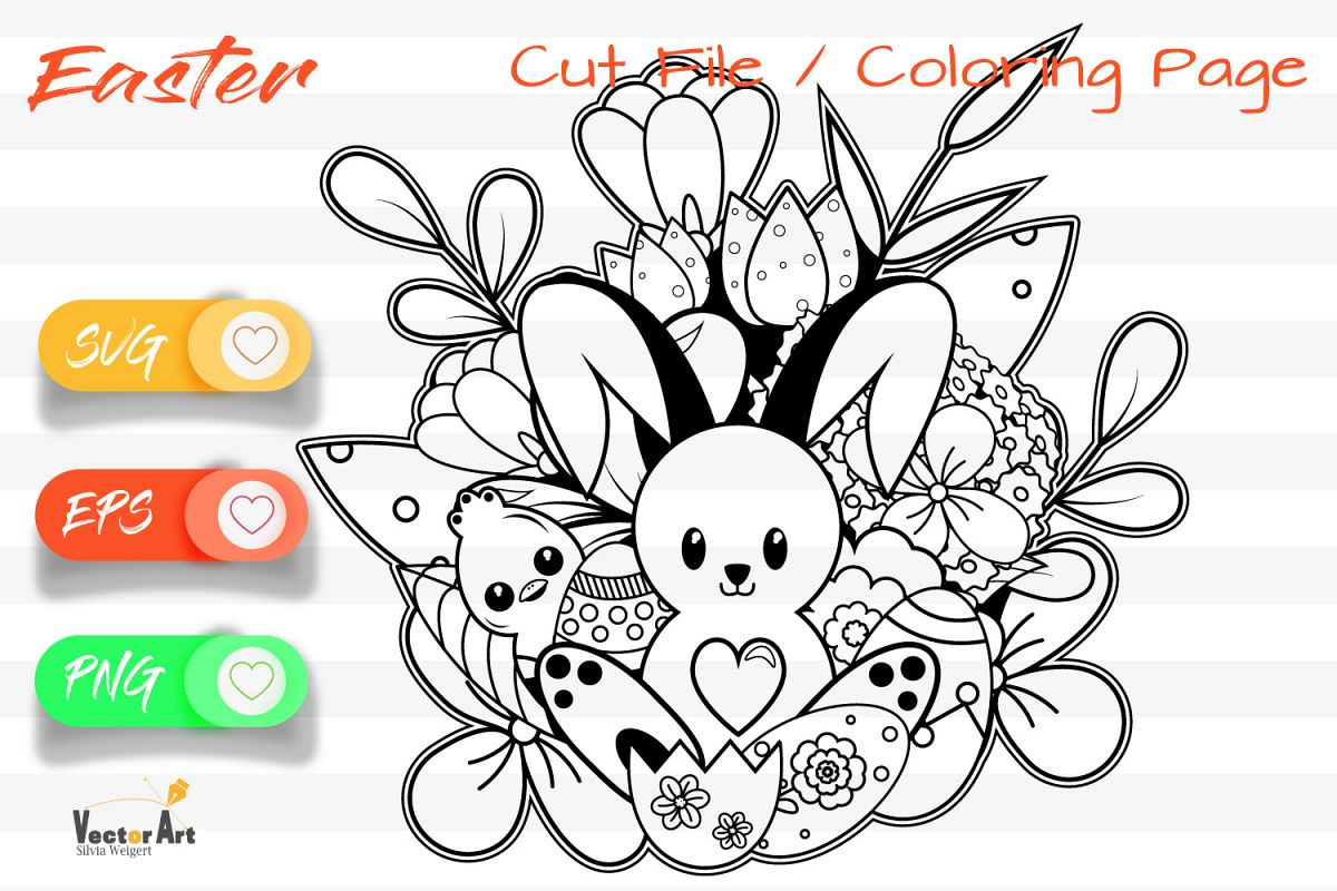 The cute Bunny- Cut File and Coloring Page example image 1