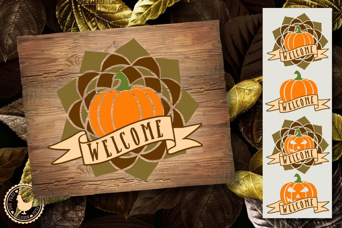 Pumpkin with welcome banner, 4 variants, fall, halloween example image 1
